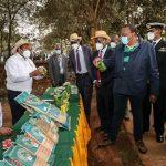 H.E President Uhuru Kenyatta visits our stand accompanied by our Ag Managing Director Mr Fred Oloibe at Michuki Park during its launch. Kenya seed Donated Lawn grass for the park.